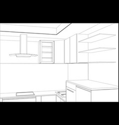 Sketch plan kitchen in the wire vector