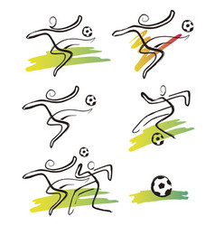 soccer players icons vector image