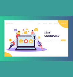 Social media network character chat landing page vector