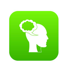 speech bubble with human head icon digital green vector image