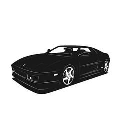 sport car black and white silhouette power fast vector image