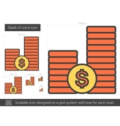 Stack of coins line icon vector image