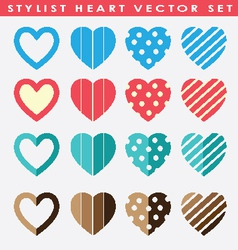 Stylist hearts sets vector