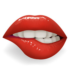 Teeth biting red glossy lips female mouth stylish vector
