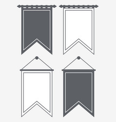 template blank pennant silhouette and outline vector image