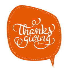 Thanksgiving word on orange tag frame on vector