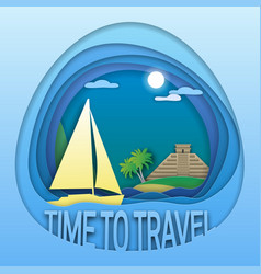 time to travel emblem template sailing yacht at vector image