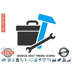 Toolbox Flat Icon With 2017 Bonus Trend vector image