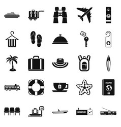 travel guide icons set simple style vector image