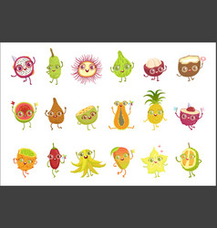 Tropical fruits girly cartoon characters set vector