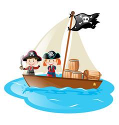Two pirates sailing at sea vector