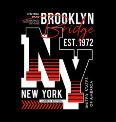 typography design ny brooklyn sport for t-shirt vector image