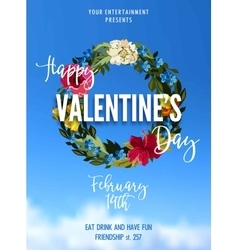 Valentines Day Party Lettering greeting card or vector image