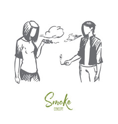 Vape e-cigarette girl smoke concept hand drawn vector
