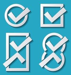 White tick icons vector