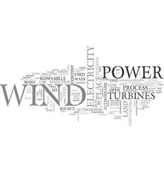 Wind power text word cloud concept vector