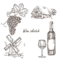 Wine set hand drawn bottle of wine glass bunch vector