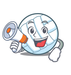 With megaphone volley ball character cartoon vector