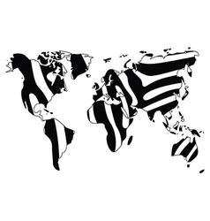 World map in animal print design zebra pattern vector