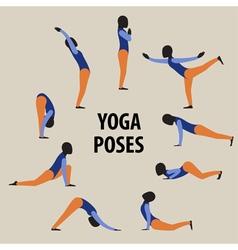 Yoga poses set Gymnastics for healthy lifestyle vector