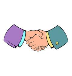 handshake icon cartoon vector image