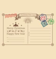 old christmas holiday postcard with santa vector image vector image