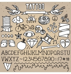 Old school tattoo objects pack vector image vector image