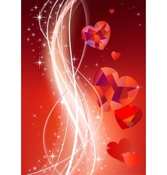 Valentines background with diamond hearts vector image vector image