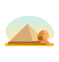amous ancient egyptian pyramid cheops and sphinx vector image vector image