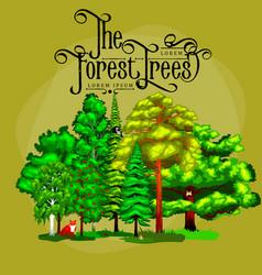 cartoon set trees outdoor park outdoor vector image