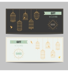 Gift certificate voucher coupon template with gold vector image