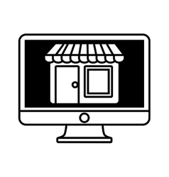 online shopping computer mobile marketing outline vector image