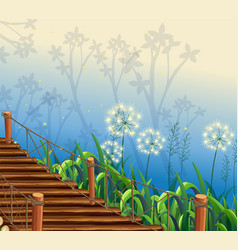 Scene with grass and wooden bridge vector