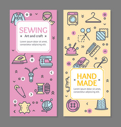 sewing flyer banner posters card set vector image vector image