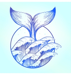 Whale tail in blue sea waves boho tattoo Ocean vector image