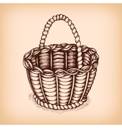 Wicker basket emblem vector image