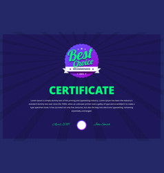Best choice certificate for award winners vector