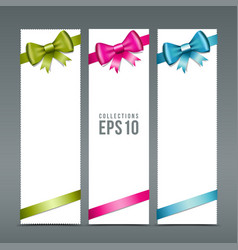 Colorful ribbons and white paper card background vector image