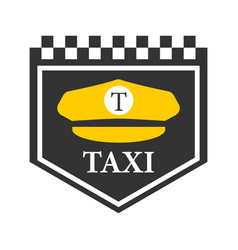 taxi logo with black and white checkers driver vector image vector image