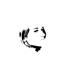 black and white portrait of young beautiful girl vector image