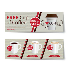 coffee coupon discount template flat design vector image vector image
