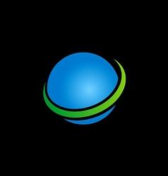 globe sphere earth blue logo vector image