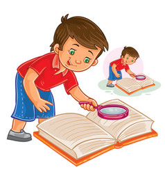 Little boy reading a book with a magnifying vector