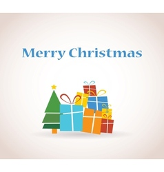 pile of presents and christmas tree vector image