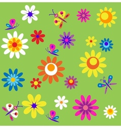 template with flowers and butterflies of spring vector image vector image