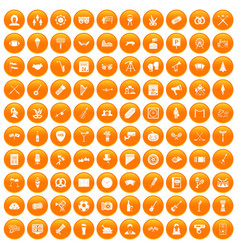 100 meeting icons set orange vector