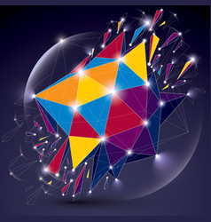 3d low poly spherical object with sparkles white vector