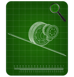 3d model of gears on a green vector image