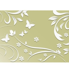 Abstract background with paper flowers and vector image