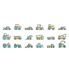 agricultural machines icons set line color vector image